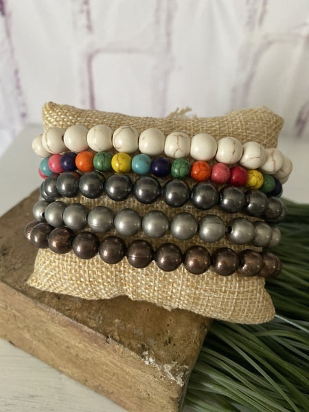 Beaded Stretch Bracelet Matte