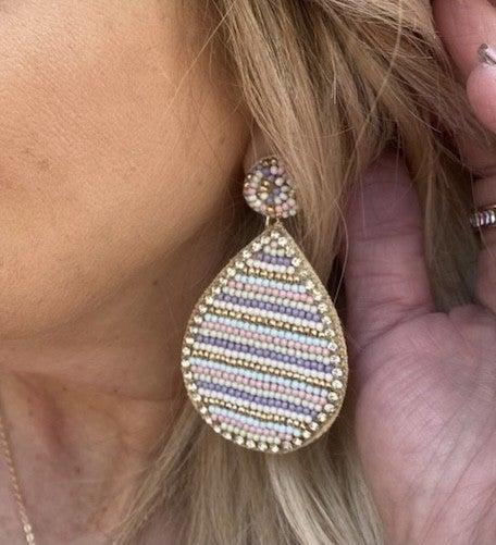 Beaded teardrop earrings