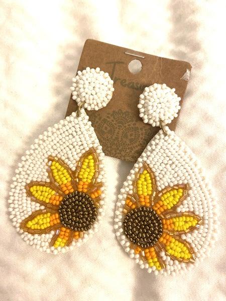 Beaded teardrop sunflower earrings