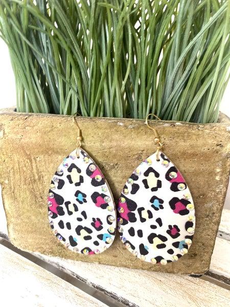 White Leopard Teardrop earrings