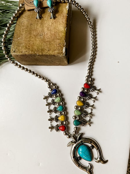 Multi colored Horseshoe Pendant necklace with earrings