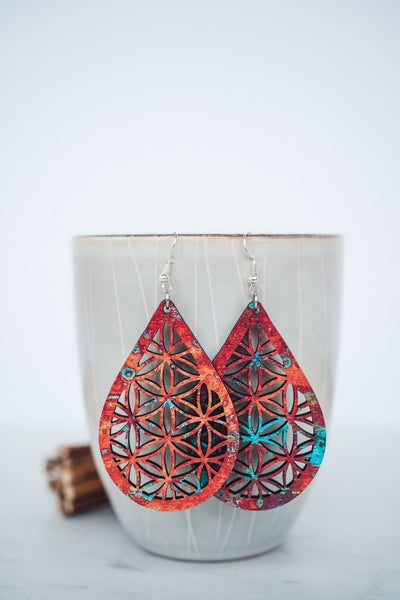 Hello Happiness Large Copper Patina Wooden Earrings