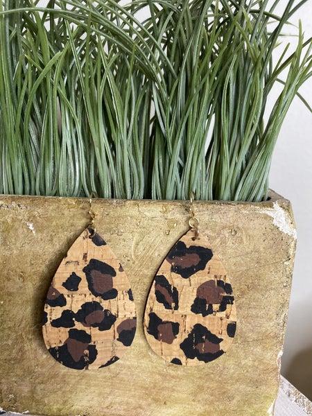 Cork Teardrop Leopard earrings