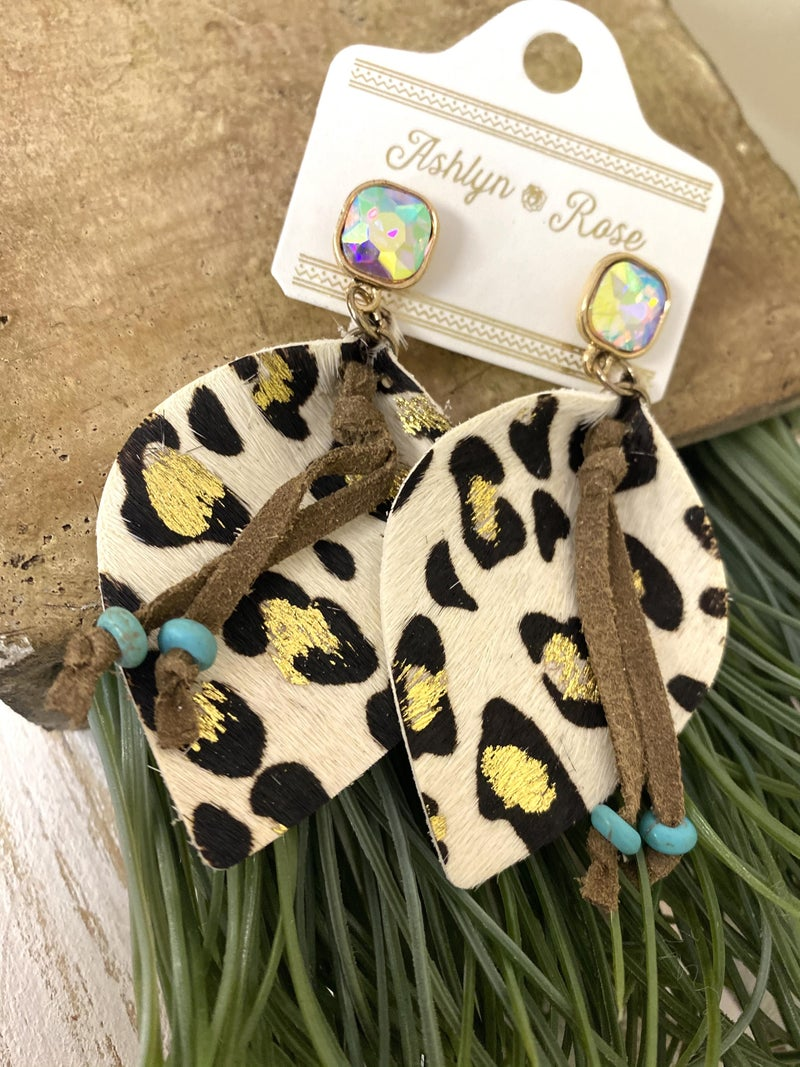 White and wild leopard earrings