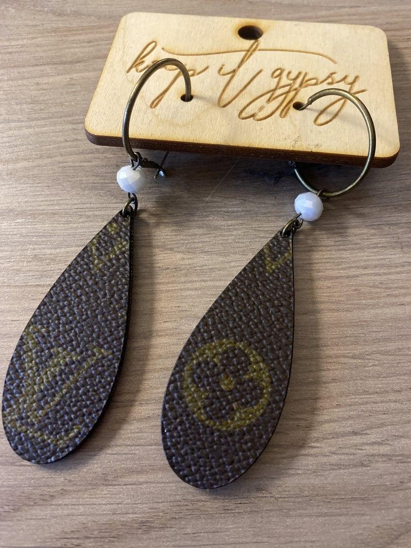 Designer Inspired teardrop earrings with white bead