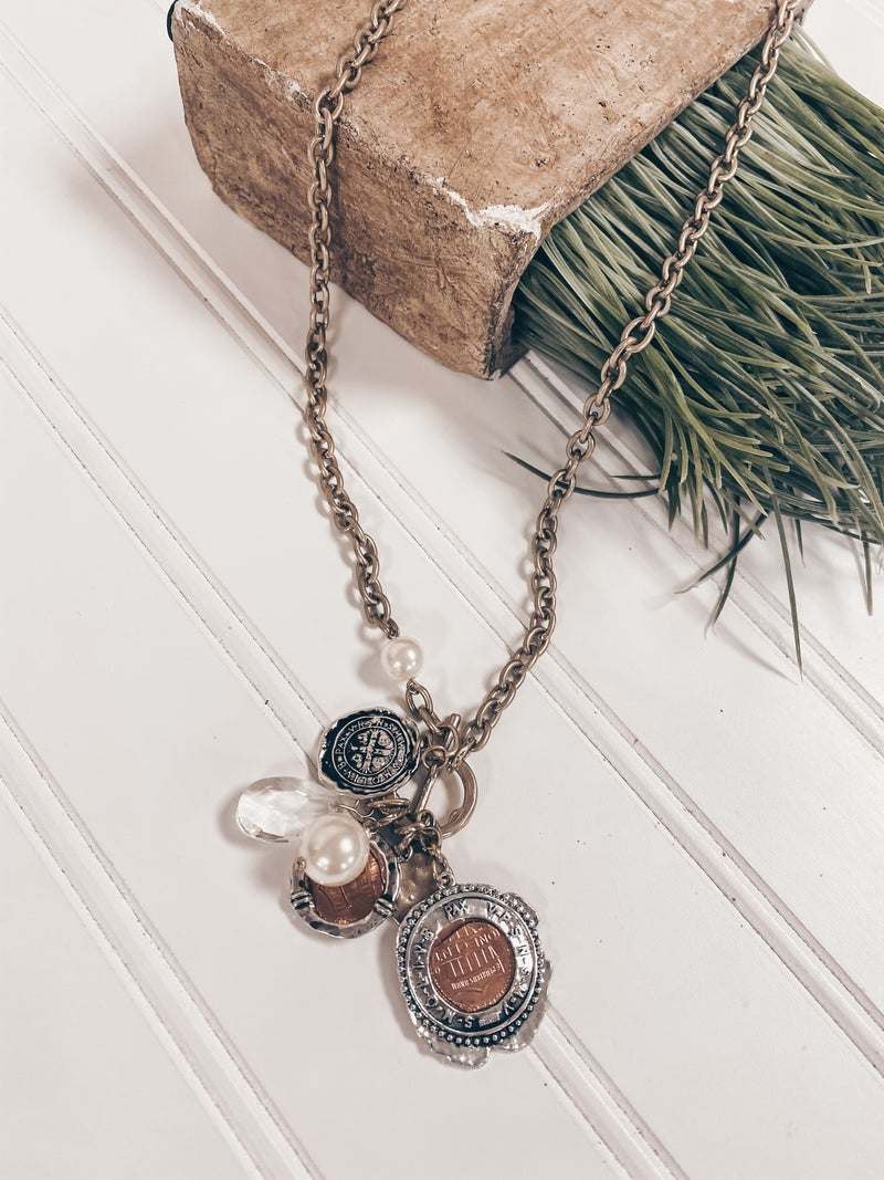Coin Cluster worn gold necklace
