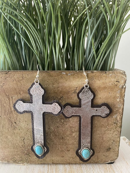 Leather and metal cross earrings
