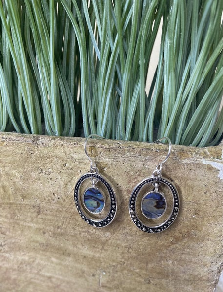 Silver Oval Dangles with Abalone