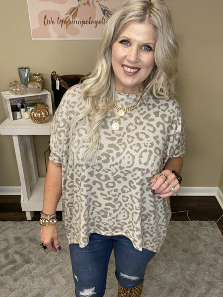 Taupe Leopard oversized top