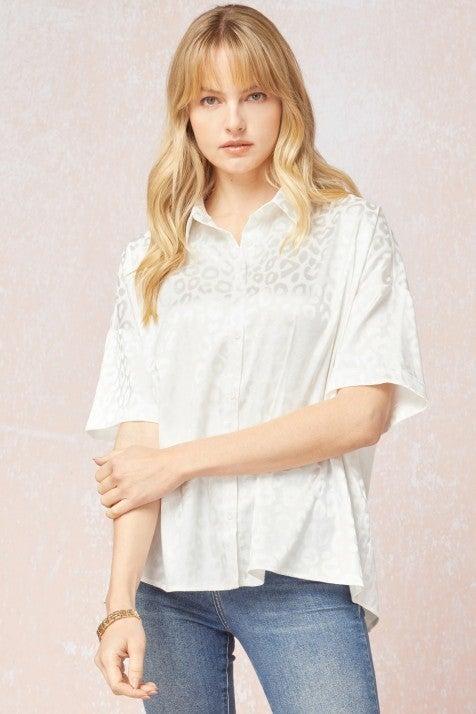 Ivory Animal print blouse