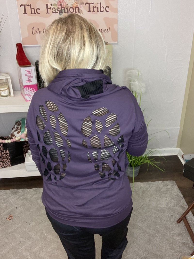 Zip Up Hoodie with Laser wing Cutout