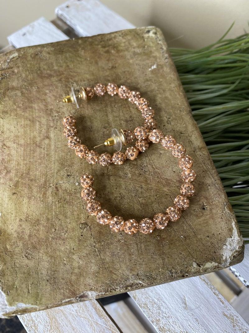 Rose Gold beaded hoop earring