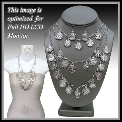3 layer silver coin necklace