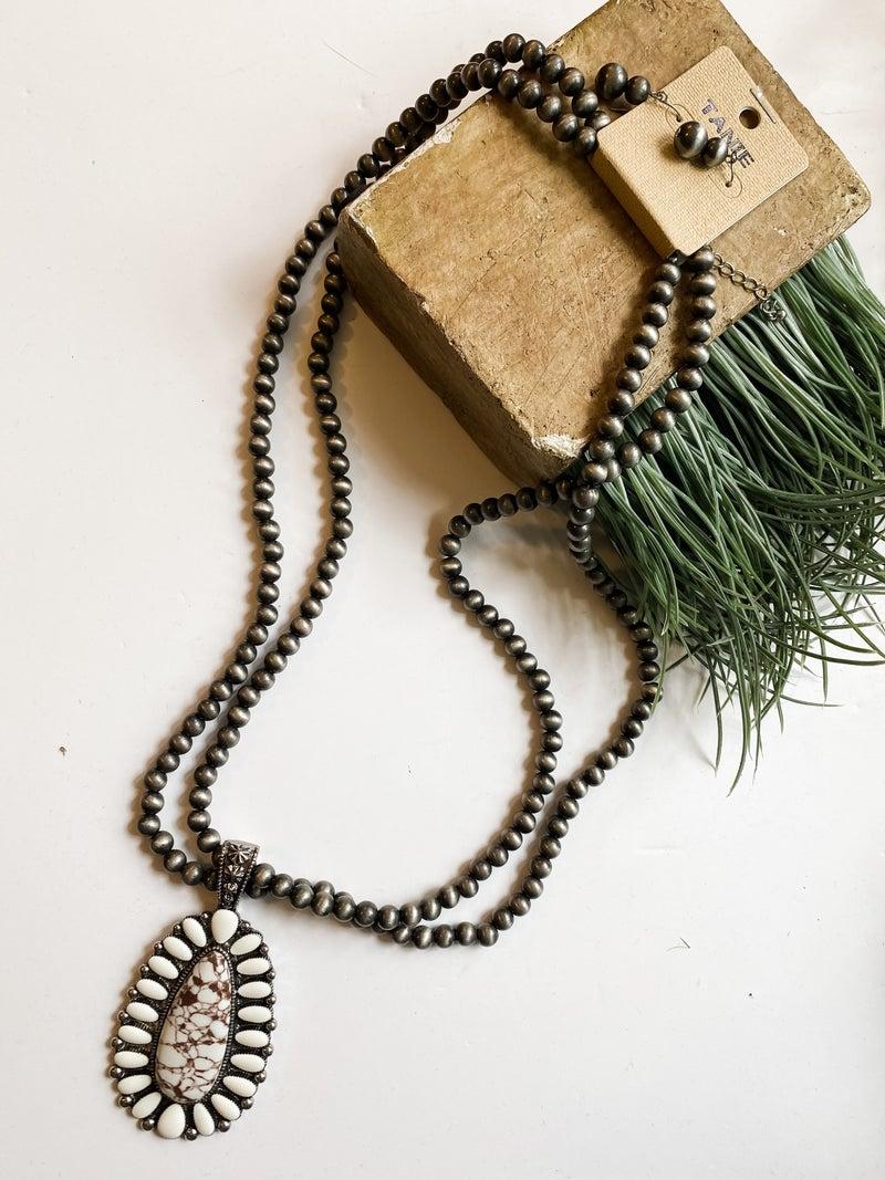 White stone statement pendant necklace