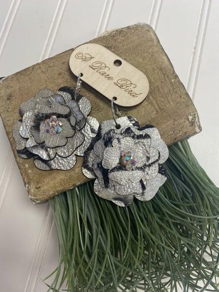 Handmade Floral Metallic Earrings