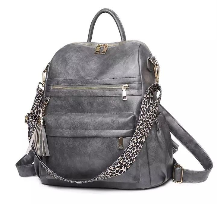 Backpack with Leopard Guitar Strap