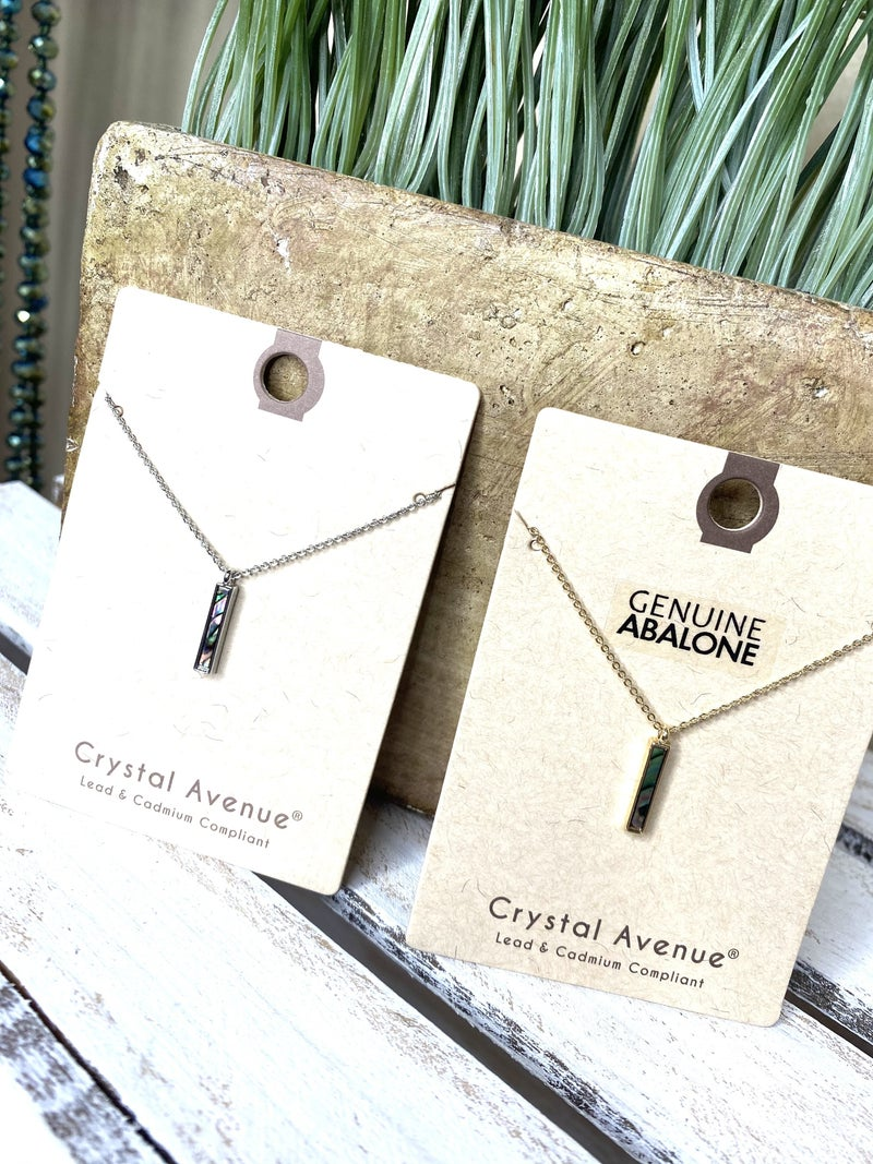 Dainty  abalone bar necklace