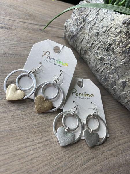 Heart and Circle earrings
