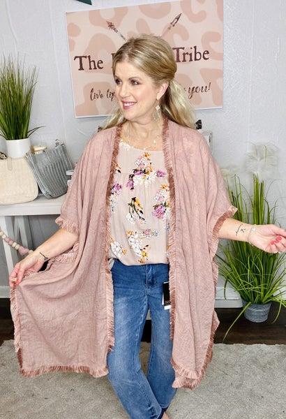 Vintage Rose Fringe Kimono