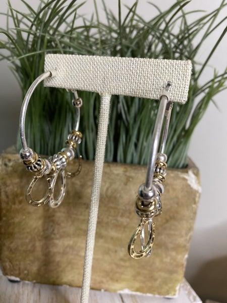 Lucky horseshoe hoop earring