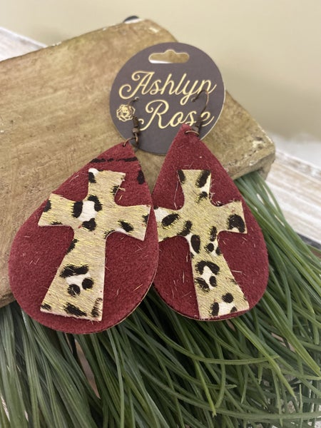 Burgundy Cross earrings