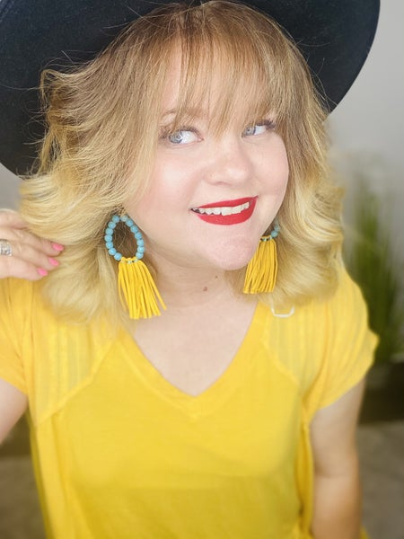 Turquoise and Mustard Fringe Earrings