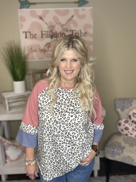 Color Block leopard top by Easel