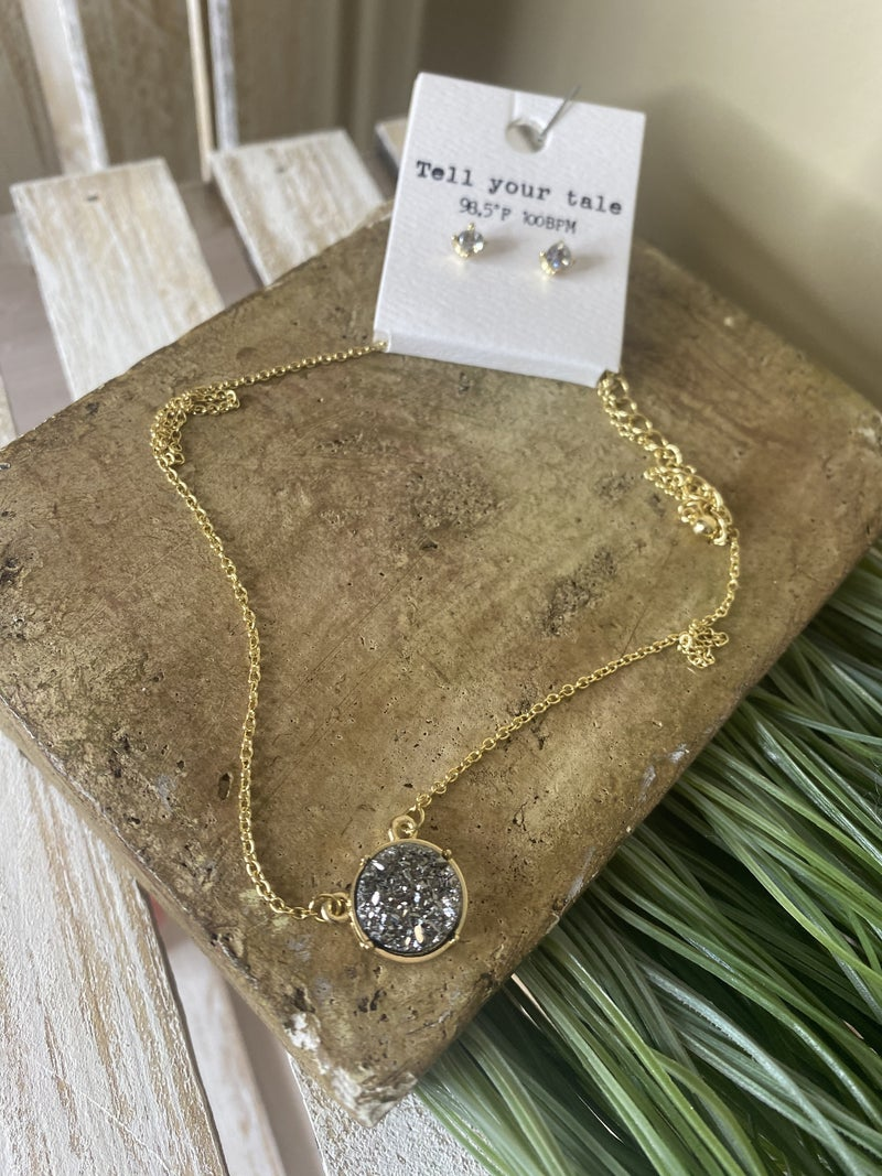 Round Druzy stone necklace set