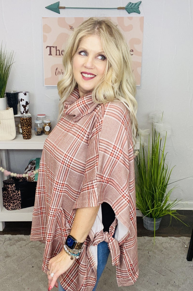 Brushed Plaid Poncho with side ties