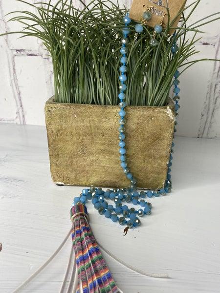 Blue beaded serape necklace  set