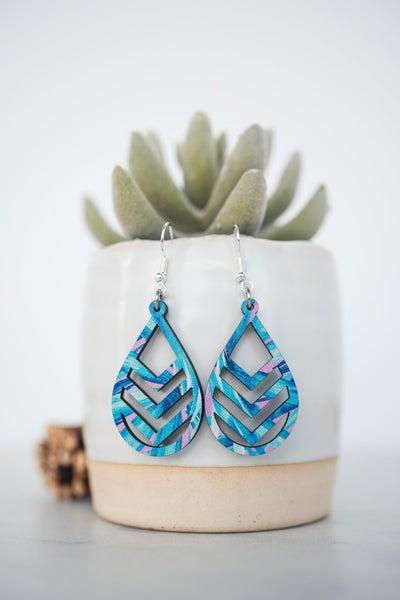 Hello Happiness Blue Chevron wooden earrings