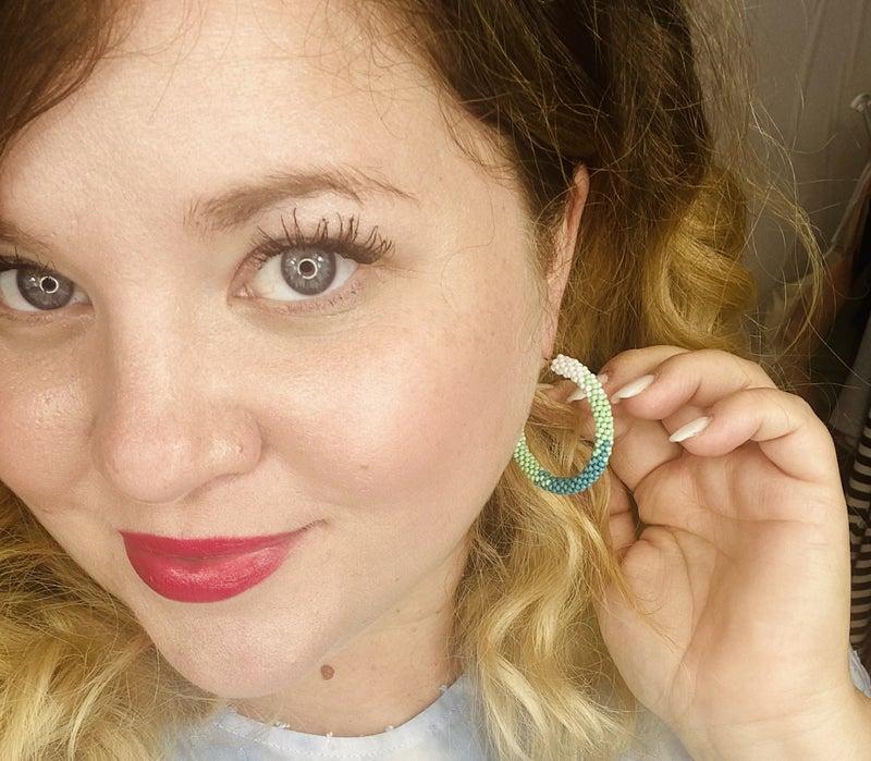 Shades of Green hoop earrings