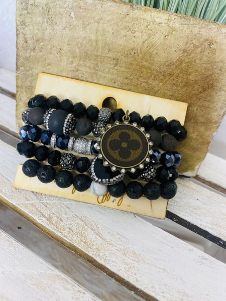 Black Upcycled Stack Bracelet
