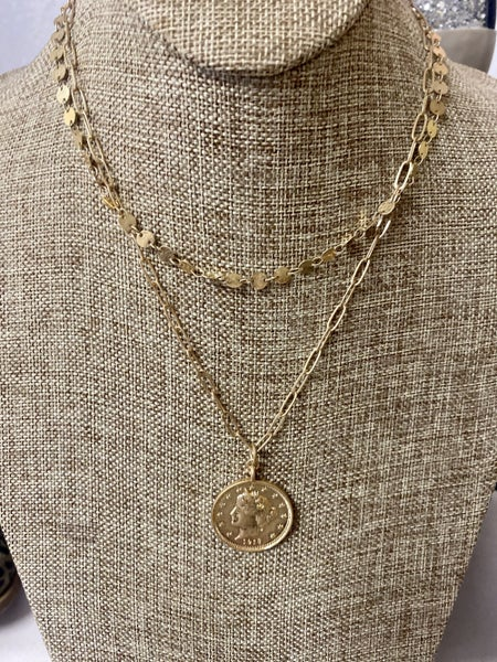 4 layer gold necklace