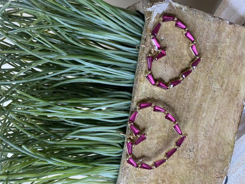 Baguette Stone Heart Earring