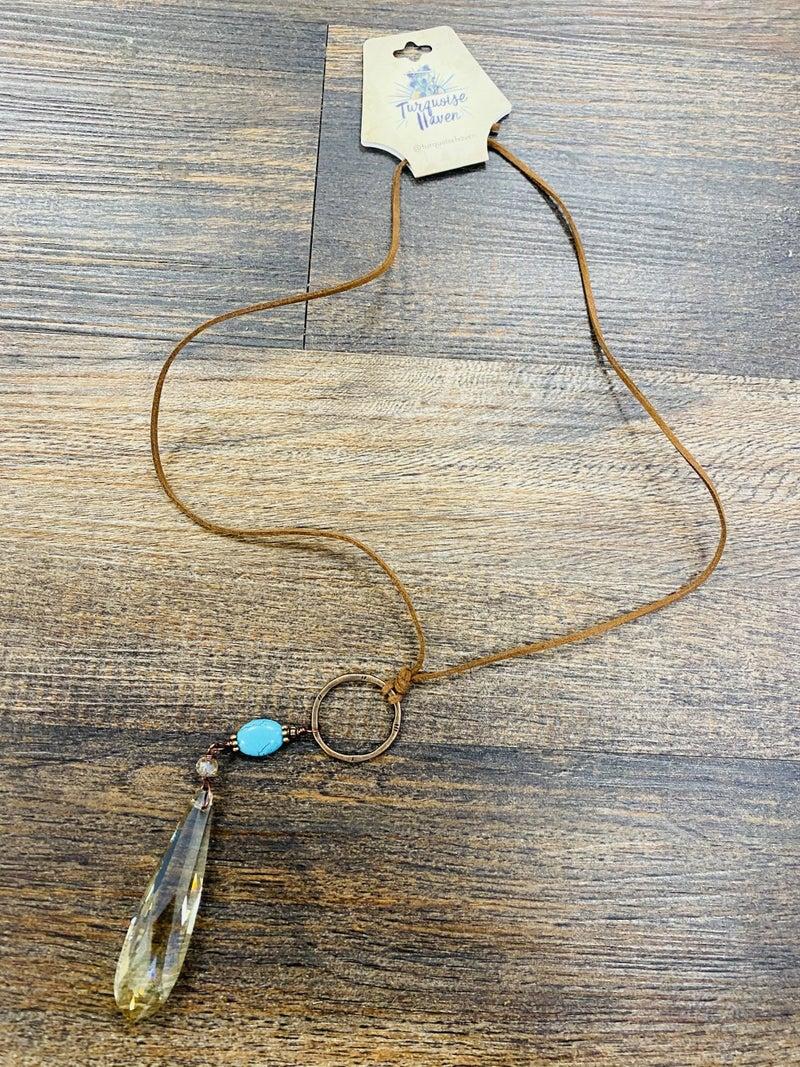 Leather teardrop crystal pendant