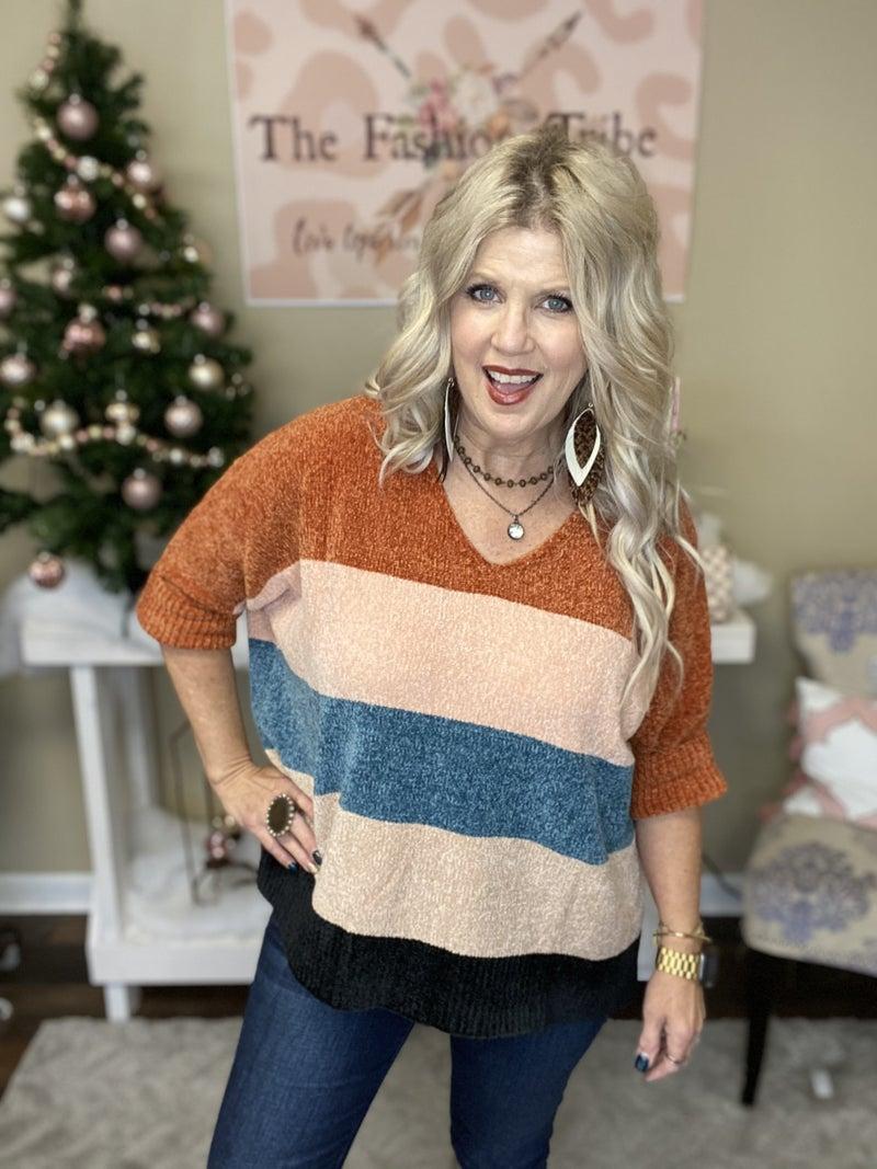 Multi-stripe colorblock chenille sweater