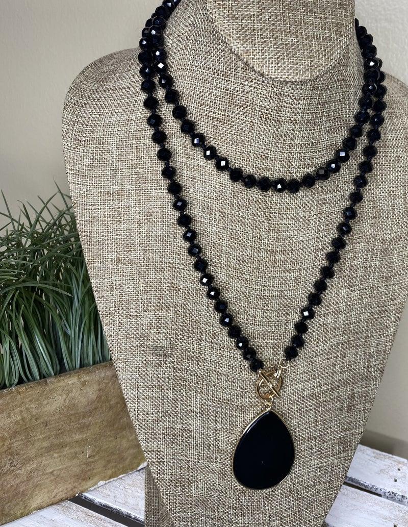 """Black semi-precious 38"""" toggle necklace"""