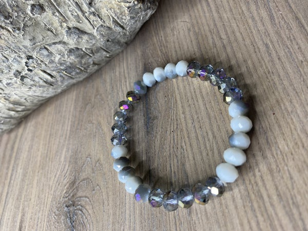 White and Silver stretch bracelet