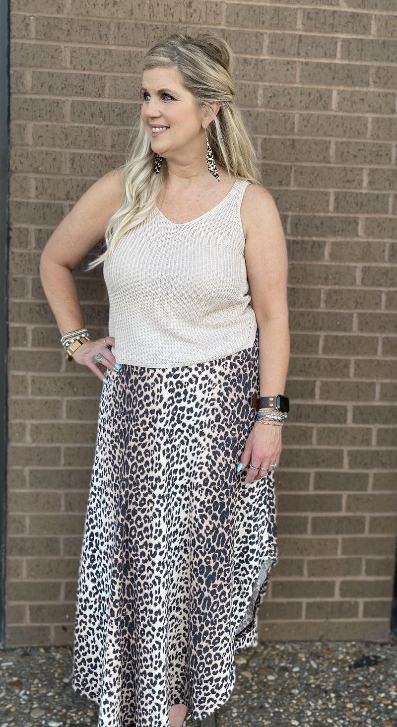 Smocked waist  Cheetah maxi skirt