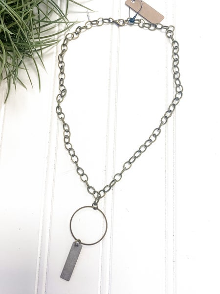 Antique finish necklace with circle charm