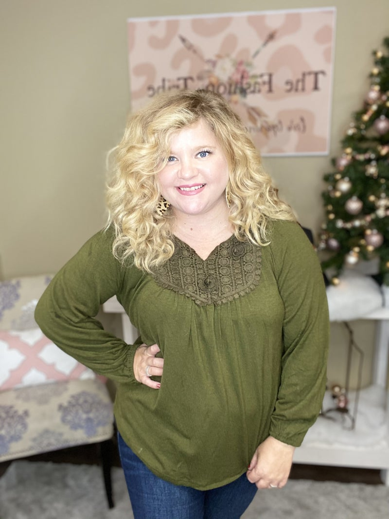 Olive embroidered top by Entro