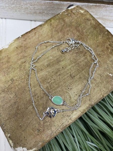 Dainty sand dollar bracelet with sea glass stone