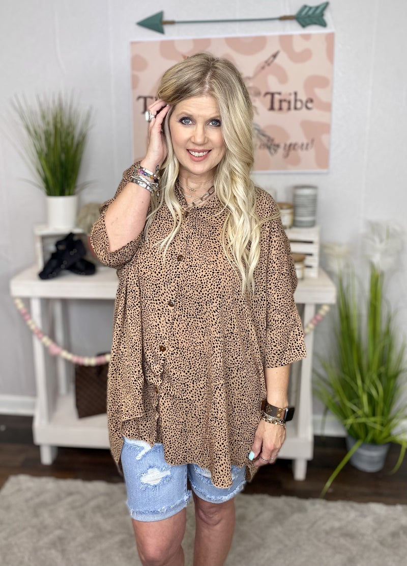 Roomy Cheetah print button up from Easel