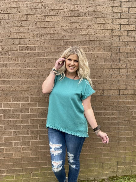 Jade top with floral back