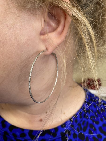 Dainty large silver hoops