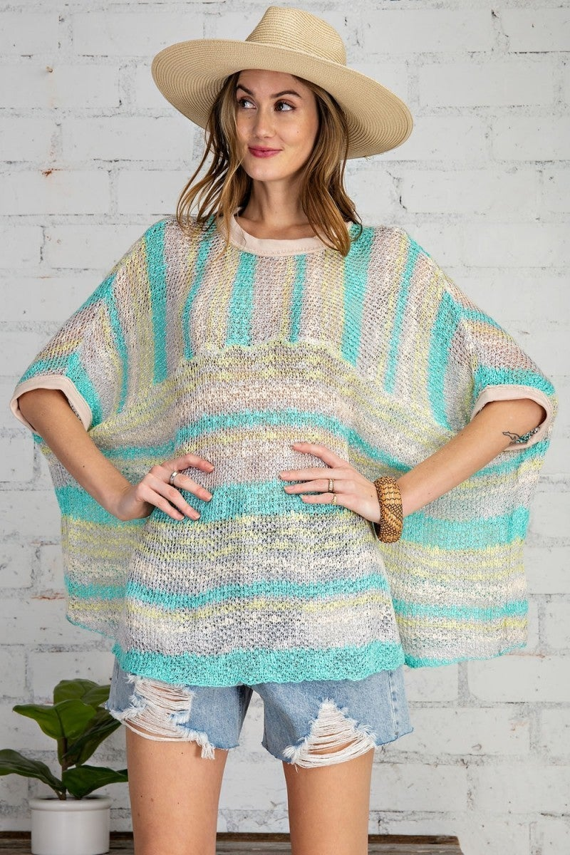 Aqua striped sweater by Easel