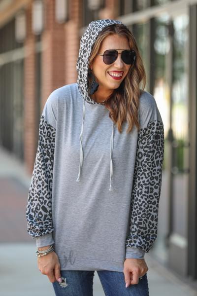Gray leopard hoodie