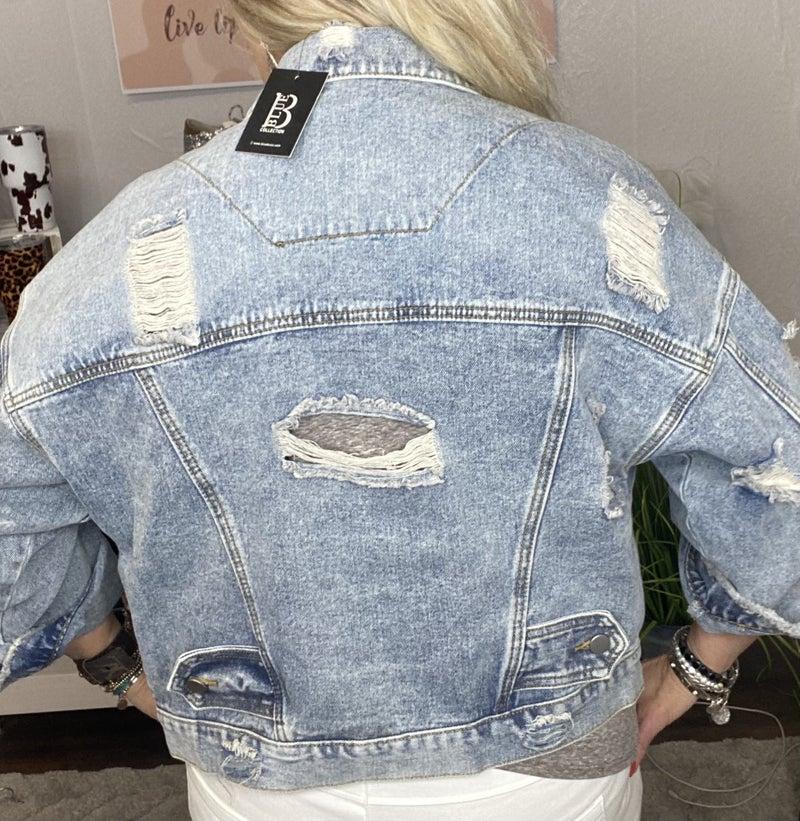 Distressed Boyfriend Denim jacket