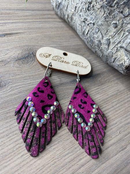 Hot Pink leopard earrings by a Rare Bird